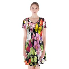 Beautiful,floral,hand painted, flowers,black,background,modern,trendy,girly,retro Short Sleeve V-neck Flare Dress