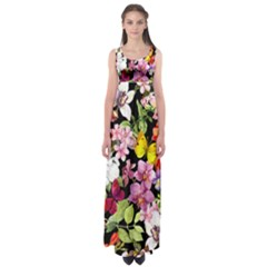 Beautiful,floral,hand painted, flowers,black,background,modern,trendy,girly,retro Empire Waist Maxi Dress