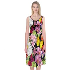 Beautiful,floral,hand painted, flowers,black,background,modern,trendy,girly,retro Midi Sleeveless Dress