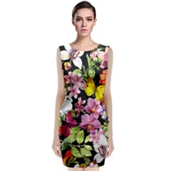 Beautiful,floral,hand painted, flowers,black,background,modern,trendy,girly,retro Classic Sleeveless Midi Dress