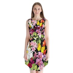 Beautiful,floral,hand painted, flowers,black,background,modern,trendy,girly,retro Sleeveless Chiffon Dress