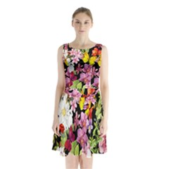 Beautiful,floral,hand painted, flowers,black,background,modern,trendy,girly,retro Sleeveless Waist Tie Chiffon Dress