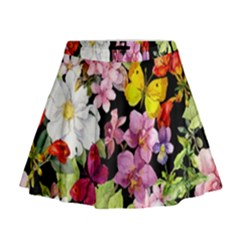 Beautiful,floral,hand painted, flowers,black,background,modern,trendy,girly,retro Mini Flare Skirt