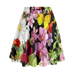 Beautiful,floral,hand Painted, Flowers,black,background,modern,trendy,girly,retro High Waist Skirt by 8fugoso