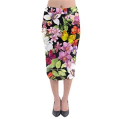 Beautiful,floral,hand painted, flowers,black,background,modern,trendy,girly,retro Midi Pencil Skirt