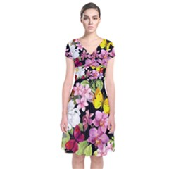 Beautiful,floral,hand painted, flowers,black,background,modern,trendy,girly,retro Short Sleeve Front Wrap Dress
