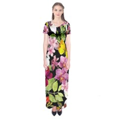 Beautiful,floral,hand painted, flowers,black,background,modern,trendy,girly,retro Short Sleeve Maxi Dress