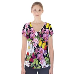 Beautiful,floral,hand painted, flowers,black,background,modern,trendy,girly,retro Short Sleeve Front Detail Top