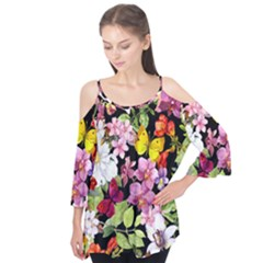 Beautiful,floral,hand painted, flowers,black,background,modern,trendy,girly,retro Flutter Tees
