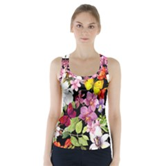 Beautiful,floral,hand painted, flowers,black,background,modern,trendy,girly,retro Racer Back Sports Top