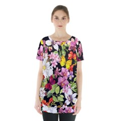 Beautiful,floral,hand painted, flowers,black,background,modern,trendy,girly,retro Skirt Hem Sports Top