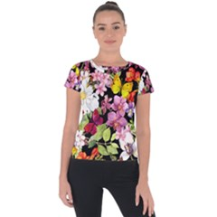 Beautiful,floral,hand painted, flowers,black,background,modern,trendy,girly,retro Short Sleeve Sports Top