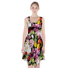 Beautiful,floral,hand painted, flowers,black,background,modern,trendy,girly,retro Racerback Midi Dress