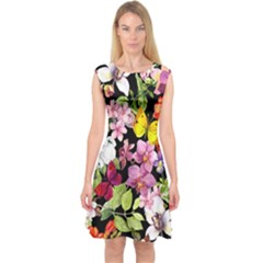 Beautiful,floral,hand painted, flowers,black,background,modern,trendy,girly,retro Capsleeve Midi Dress