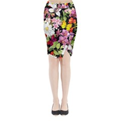 Beautiful,floral,hand painted, flowers,black,background,modern,trendy,girly,retro Midi Wrap Pencil Skirt