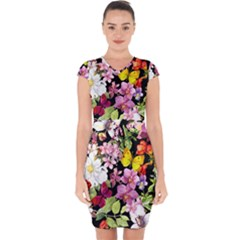 Beautiful,floral,hand painted, flowers,black,background,modern,trendy,girly,retro Capsleeve Drawstring Dress