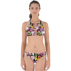 Beautiful,floral,hand painted, flowers,black,background,modern,trendy,girly,retro Perfectly Cut Out Bikini Set