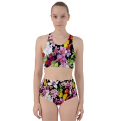 Beautiful,floral,hand painted, flowers,black,background,modern,trendy,girly,retro Racer Back Bikini Set