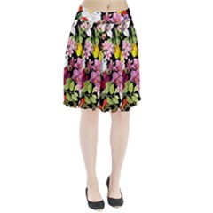 Beautiful,floral,hand painted, flowers,black,background,modern,trendy,girly,retro Pleated Skirt
