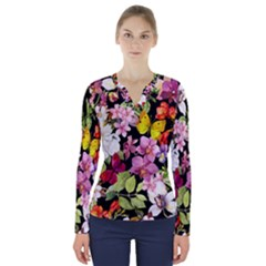 Beautiful,floral,hand painted, flowers,black,background,modern,trendy,girly,retro V-Neck Long Sleeve Top