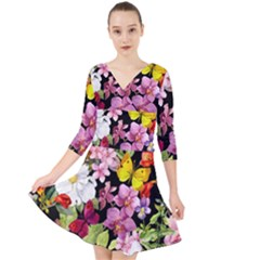 Beautiful,floral,hand painted, flowers,black,background,modern,trendy,girly,retro Quarter Sleeve Front Wrap Dress