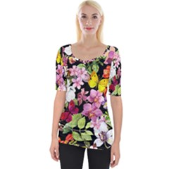 Beautiful,floral,hand painted, flowers,black,background,modern,trendy,girly,retro Wide Neckline Tee