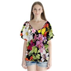 Beautiful,floral,hand painted, flowers,black,background,modern,trendy,girly,retro V-Neck Flutter Sleeve Top
