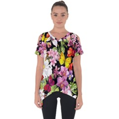 Beautiful,floral,hand painted, flowers,black,background,modern,trendy,girly,retro Cut Out Side Drop Tee