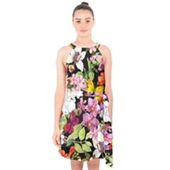 Beautiful,floral,hand painted, flowers,black,background,modern,trendy,girly,retro Halter Collar Waist Tie Chiffon Dress