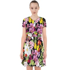 Beautiful,floral,hand painted, flowers,black,background,modern,trendy,girly,retro Adorable in Chiffon Dress