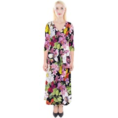 Beautiful,floral,hand painted, flowers,black,background,modern,trendy,girly,retro Quarter Sleeve Wrap Maxi Dress