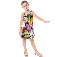 Beautiful,floral,hand painted, flowers,black,background,modern,trendy,girly,retro Kids  Sleeveless Dress