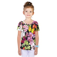 Beautiful,floral,hand painted, flowers,black,background,modern,trendy,girly,retro Kids  One Piece Tee
