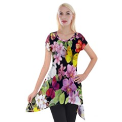 Beautiful,floral,hand Painted, Flowers,black,background,modern,trendy,girly,retro Short Sleeve Side Drop Tunic by 8fugoso