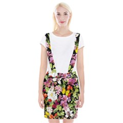 Beautiful,floral,hand painted, flowers,black,background,modern,trendy,girly,retro Braces Suspender Skirt
