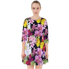 Beautiful,floral,hand painted, flowers,black,background,modern,trendy,girly,retro Smock Dress
