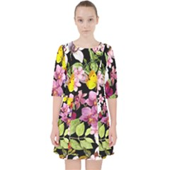 Beautiful,floral,hand painted, flowers,black,background,modern,trendy,girly,retro Pocket Dress