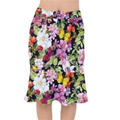 Beautiful,floral,hand Painted, Flowers,black,background,modern,trendy,girly,retro Mermaid Skirt by 8fugoso