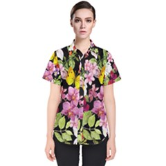 Beautiful,floral,hand painted, flowers,black,background,modern,trendy,girly,retro Women s Short Sleeve Shirt
