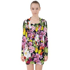 Beautiful,floral,hand painted, flowers,black,background,modern,trendy,girly,retro V-neck Bodycon Long Sleeve Dress