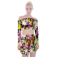 Beautiful,floral,hand painted, flowers,black,background,modern,trendy,girly,retro Off Shoulder Top with Mini Skirt Set