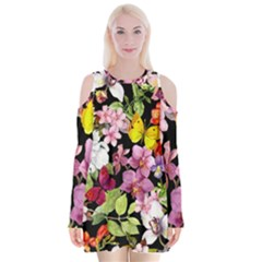 Beautiful,floral,hand painted, flowers,black,background,modern,trendy,girly,retro Velvet Long Sleeve Shoulder Cutout Dress
