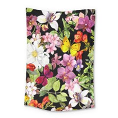 Beautiful,floral,hand painted, flowers,black,background,modern,trendy,girly,retro Small Tapestry