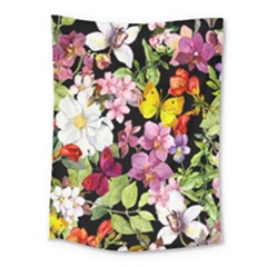 Beautiful,floral,hand painted, flowers,black,background,modern,trendy,girly,retro Medium Tapestry
