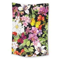 Beautiful,floral,hand painted, flowers,black,background,modern,trendy,girly,retro Large Tapestry