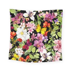 Beautiful,floral,hand painted, flowers,black,background,modern,trendy,girly,retro Square Tapestry (Small)