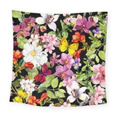 Beautiful,floral,hand painted, flowers,black,background,modern,trendy,girly,retro Square Tapestry (Large)
