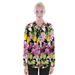 Beautiful,floral,hand painted, flowers,black,background,modern,trendy,girly,retro Womens Long Sleeve Shirt