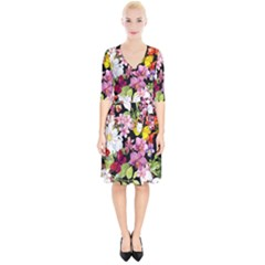 Beautiful,floral,hand painted, flowers,black,background,modern,trendy,girly,retro Wrap Up Cocktail Dress