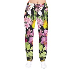 Beautiful,floral,hand painted, flowers,black,background,modern,trendy,girly,retro Drawstring Pants